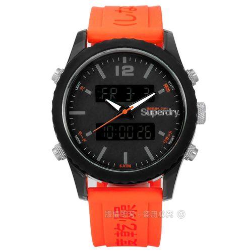 Superdry 極度乾燥 / SYG206O / 潮流撞色運動舒適矽膠手錶 深灰x黑框x橘 45mm