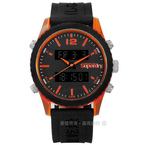 Superdry 極度乾燥 / SYG206B / 潮流撞色運動舒適矽膠手錶 深灰x橘框x黑 45mm