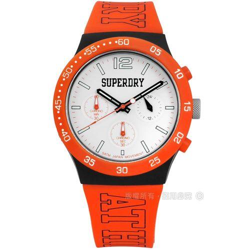 Superdry 極度乾燥 / SYG205O / 日系青春簡約中性三環計時橡膠手錶 白x橘黑 40mm