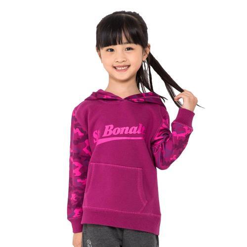 【聖伯納 St.Bonalt】女小童-迷彩拼接刷毛運動帽T(81211)-灰色/深紫