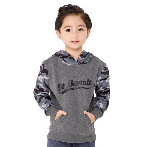 【聖伯納 St.Bonalt】男中童-迷彩拼接刷毛運動帽T(81210)-寶藍/灰色
