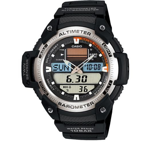 【CASIO】 新機能戶外雙顯運動錶-銀白圈 (SGW-400H-1B)
