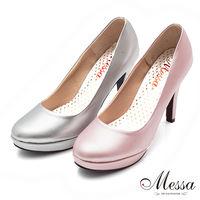 ~Messa米莎~ ^#40 MIT ^#41 優雅鎏光美人素面內真皮高跟包鞋 ^#45