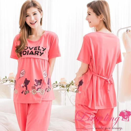 【lingling日系】全尺碼-小熊印字哺乳孕婦裝居家二件式睡衣組(珊瑚紅)A2044-01