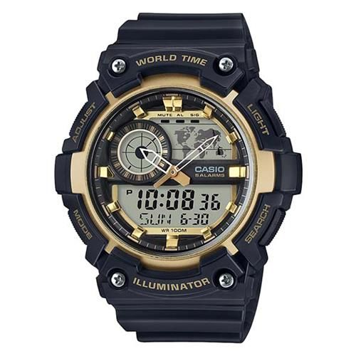 【CASIO】 世界地圖時間設計雙顯運動錶-黑X金框 (AEQ-200W-9A)