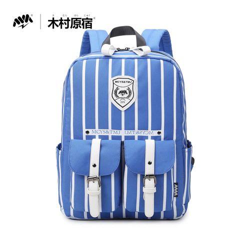 木村原宿MM - 直線道 中性口袋厚墊釋壓筆電後背包-藍白條