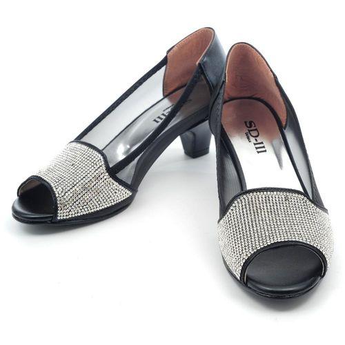 【 cher美鞋】MIT滿鑽透氣網露趾低跟鞋-黑色 MTN-HG