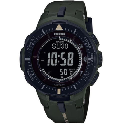 【CASIO】PROTREK原野時尚風格戶外活動高亮度照明登山錶-墨綠 (PRG-300-3)