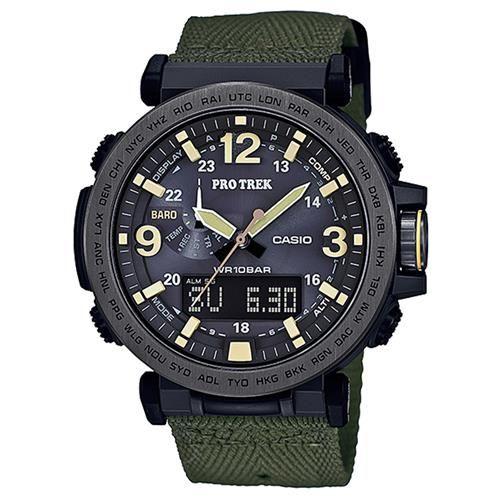 【CASIO】PROTREK粗曠威武戶外活動高亮度照明登山錶-黑框X軍綠 (PRG-600YB-3)