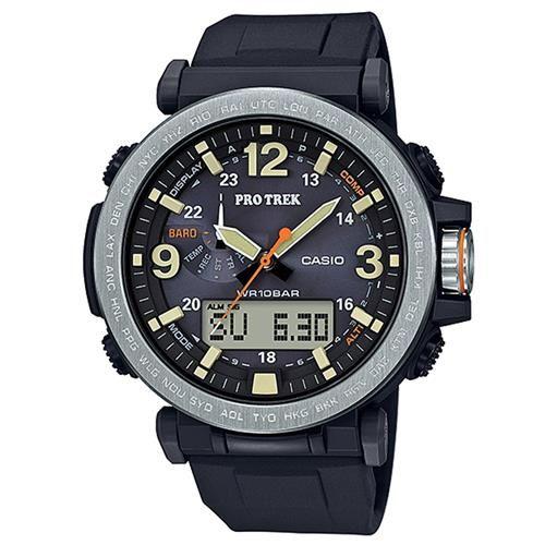 【CASIO】PROTREK粗曠威武戶外活動高亮度照明登山錶-銀框X黑 (PRG-600-1)