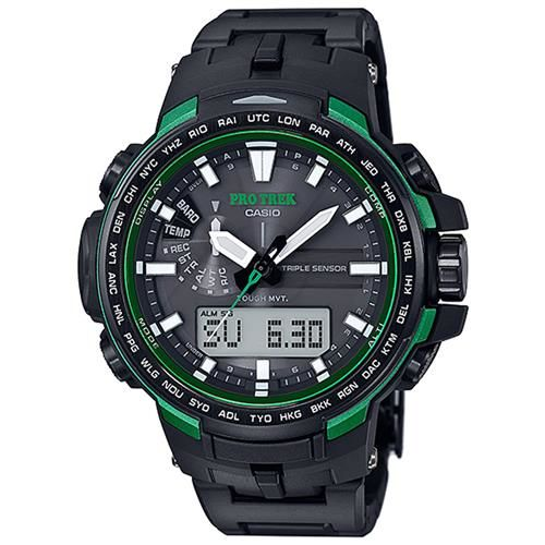 【CASIO】PROTREK酷黑新裝備三大感應低耗量登山電波錶-綠框 (PRW-6100FC-1)