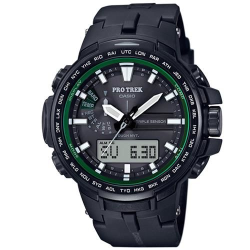 【CASIO】PROTREK原野風格新裝備三大感應低耗量電波鈦金屬錶 (PRW-S6100Y-1)