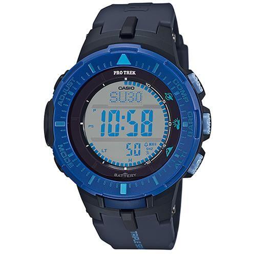 【CASIO】PROTREK原野時尚風格戶外活動高亮度照明登山錶-藍框x黑 (PRG-300-2)