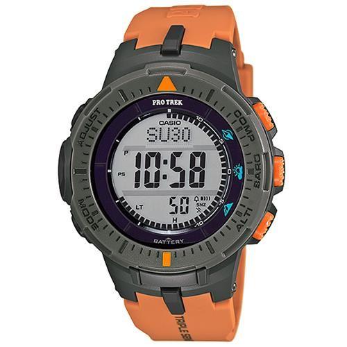 【CASIO】PROTREK原野時尚風格戶外活動高亮度照明登山錶-灰框x橘 (PRG-300-4)