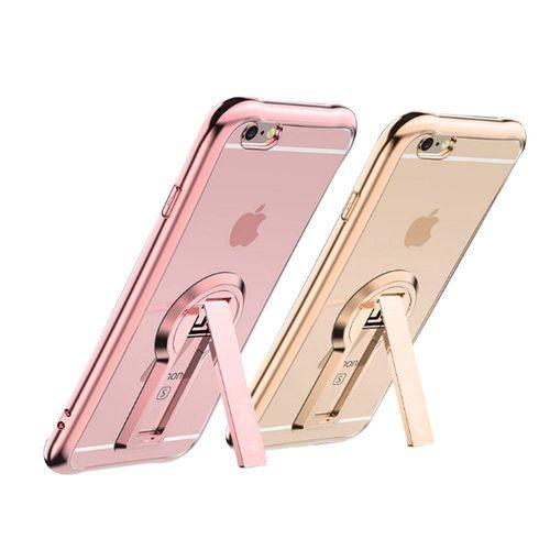 水漾-iPhone7 Plus(5.5)小蠻腰空壓鍍邊手機支架TPU手機軟殼(送玻璃保護貼)