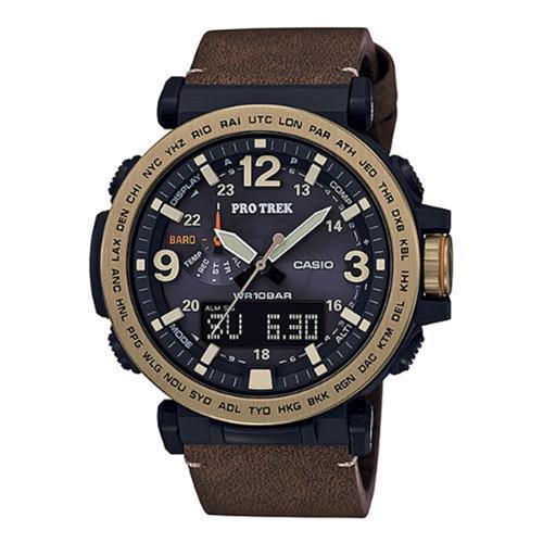 【CASIO】PROTREK粗曠威武高亮度照明戶外登山皮帶錶-咖啡X金 (PRG-600YL-5)