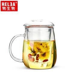 香港RELEA物生物 320ml小蘑菇耐熱玻璃泡茶杯附濾茶器
