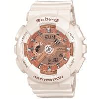 CASIO BABY~G 多層次機械酷感女孩休閒腕錶~玫瑰香檳金X白  BA~110~7A