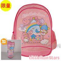 【Little Twin Stars雙子星】書包 隨手杯-KiKiLaLa 雙層款 粉紅色