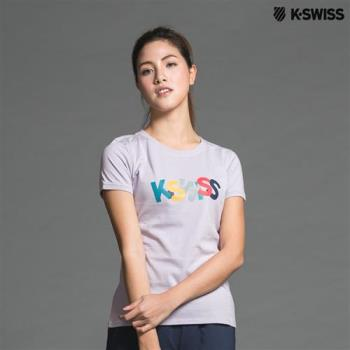 K-Swiss Logo Tee印花短袖T恤-女-粉紫