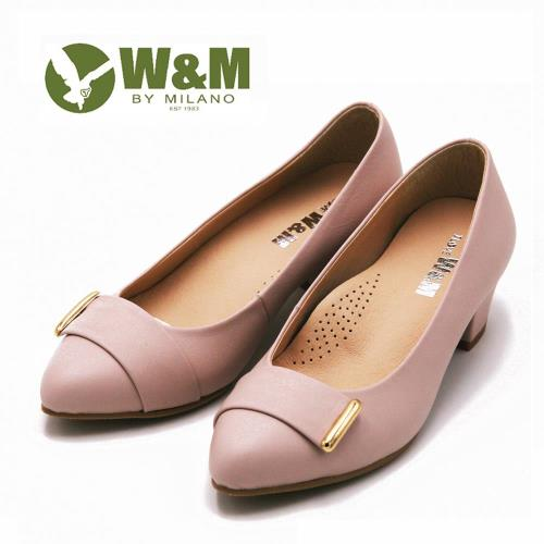 WM 真皮素面質感高跟鞋 女鞋-粉(另有黑)