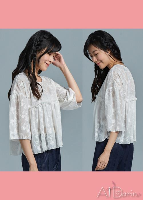 【A1 Darin】韓版新款優雅花朵刺繡雪紡上衣-,