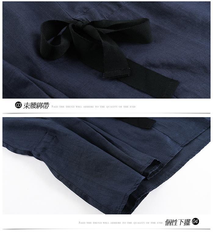 【翡嵐絲】立體薴麻綁帶收腰上衣-,