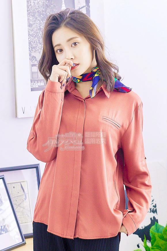 【魔法拉拉】簡約襯衫領袖可反折上衣K603(活力桔)