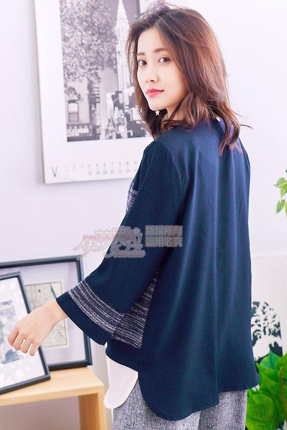 【魔法拉拉】圓領拼接層次細條紋七分袖上衣K639(貴族藍)