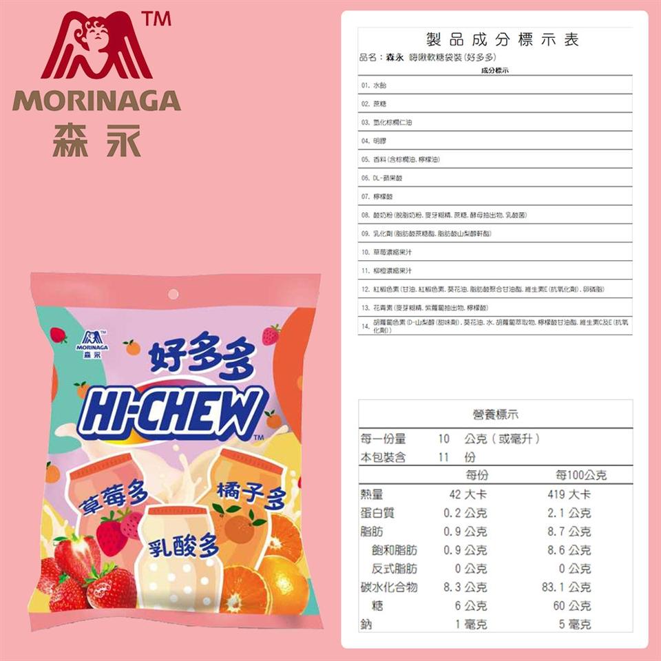 台灣森永】森永嗨啾軟糖袋裝(好多多)-110g x1入 軟糖/牛奶糖 ETMall東森購物