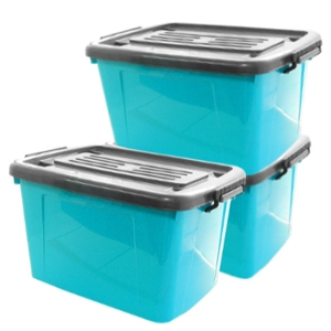 【收納達人】滑輪整理箱(3入)藍