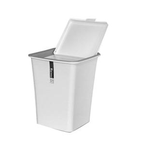 【收納達人】白色時尚掀蓋垃圾桶/字紙簍(大)3入