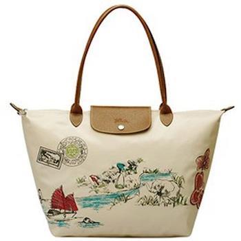 LONGCHAMP湄公河風景刺繡技藝包1899509-555 米色