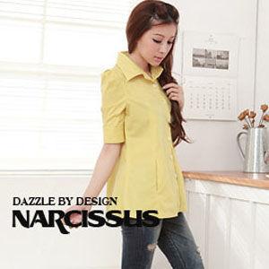 [NARCISSUS] 公主五分袖傘狀襯衫 附可拆式綁帶 萊姆黃