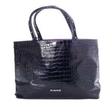 PINKO 鱷魚紋吸扣托特包(黑) 12D05H nero