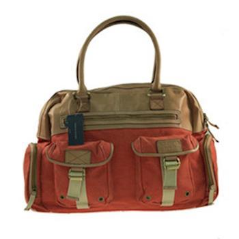 Tommy Hilfiger石染帆布率性手提包(鮮嫩橘-390508網
