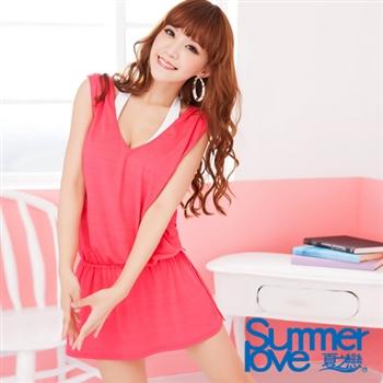 【夏之戀SUMMERLOVE】希臘風外搭連身裙E13709-桃粉