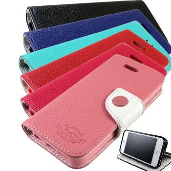 KooPin Apple iPhone 5C 雙料縫線 側掀皮套