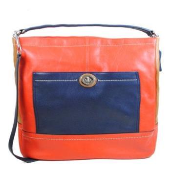 【COACH】24369 質感撞色全皮革兩用仕女包(橘紅)