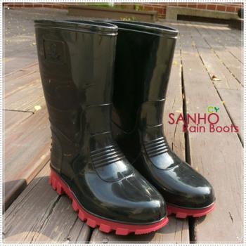 【Sanho雨鞋】典雅風半筒長雨鞋/帥氣黑