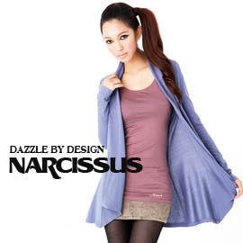 [ NARCISSUS ] MODAL莫代爾 針織長版罩衫 湖藍