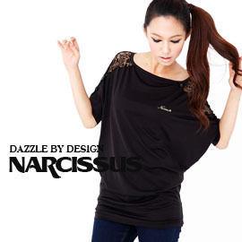 [NARCISSUS]天絲棉TENCEL蕾絲拼接飛鼠袖長版T黑色