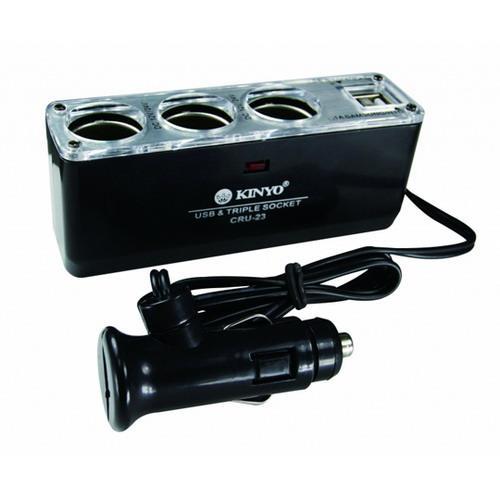 【KINYO】車用3孔+2孔USB電流3.1A輸出孔點煙器擴充座