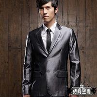 時尚空間 奢華腰身銀灰兩釦條紋西裝一套【FS612】腰身版型