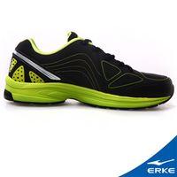 【ERKE爾克】男性運動常規慢跑鞋-正黑/青竹綠