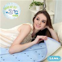 日本SANKI 尼龍網散熱加強冰涼床墊組1床90x140Cm+2枕