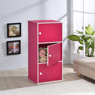 【好傢俱】三層門櫃-桃紅