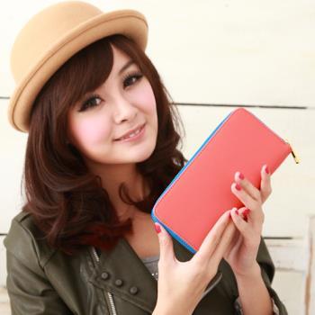 【Miyo】馬卡龍雙色經典拉鍊長夾(橘藍)