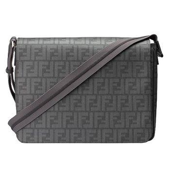 FENDI滿版防刮斜背書包(灰色)PVC7VA195-00B0W
