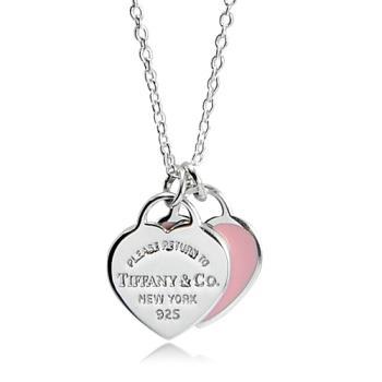 Tiffany&Co.迷你雙色雙心純銀項鍊 粉紅色